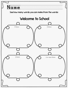Classroom Freebies Too: Welcome to School: Making Words and Sentences