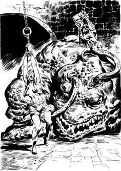 A sombra de Slithering ilustrada por Benito Gallego Jean Giraud, Sword And Sorcery, Red Sonja, Conan, Batman, Scene, Deviantart, Superhero, Anime