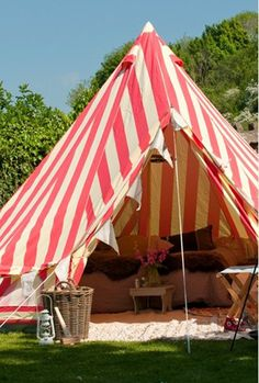 red and white stripe backyard tent