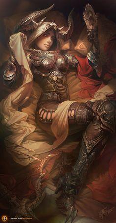 Crusader, Diablo 3 by Mike Azevedo Fantasy Girl, Chica Fantasy, 3d Fantasy, Fantasy Kunst, Fantasy Warrior, Fantasy Women, Fantasy Artwork, Dnd Characters, Fantasy Characters