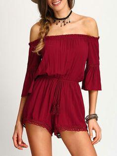 d830534b3e94 Burgundy Crochet Panel Belted Off-the-shoulder Jumpsuit  offshoulder  dress   top