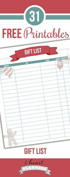 Free gift tracker printable - great way to keep track of all the holiday gifts that you need to purchase and wrap.