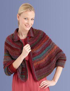 Round Yoke Poncho free crochet pattern from Lion Brand Yarn Crochet Poncho Patterns, Crochet Shawls And Wraps, Crochet Jacket, Knitted Shawls, Crochet Scarves, Crochet Clothes, Crochet Round, Free Crochet, Knit Crochet