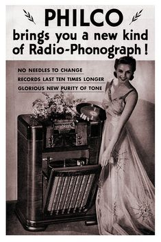 Philco brings you a new kind of radio-phonograph! #vintage #1940s #radio #fashion #ads