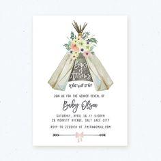 Gender Reveal Invitation Bows or Arrows Gender by littlewilddesign