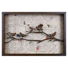 Bird and postal card collage wall art with a hand-forged metal frame.  Product: Framed wall artConstruction Material...