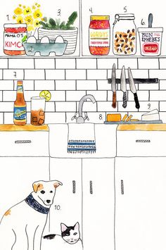 Kitchen illustration Dog & Cat Camille Styles - an interview with Julia Art And Illustration, Illustrations And Posters, Watercolor Illustration, Kitchen Drawing, Kitchen Art, Op Art, Photo Humour, Art Prints, Inspiration