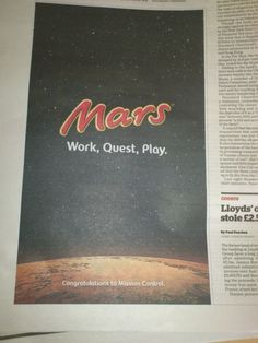 #Mars - Work Quest Play - brilliant re-work on the tag line and tie in to the event