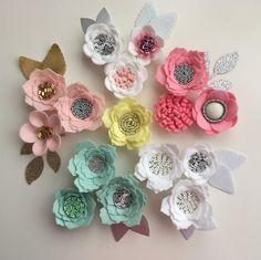 Hand made lemon/white/pink felt 3d flowers & glitter leaves. Felt flower crown, flower headband, flower garland, baby headband, felt posies by cutzbothways on Etsy
