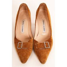 Pre-owned Manolo Blahnik Heels ($124) ❤ liked on Polyvore featuring shoes, pumps, apparel & accessories, dress shoes, tan, tan pointed toe pumps, pointy-toe pumps, suede pointed toe pumps, suede shoes and tan suede pumps