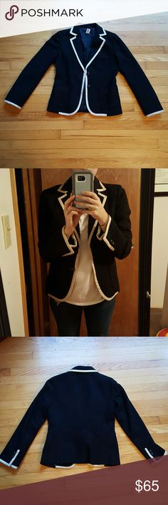 J. Crew Factory Tipped Wool Blazer size 6 Black wool blazer with cream lining. Three fully functional pockets- one on the left chest and one on each side. Two button closure and four buttons on each sleeve. Fully lined inside. Worn once to a work event. Can be dressed up or down. Wearing blazer to show it unbuttoned and buttoned. No stains...in great condition. No trades. J. Crew Factory Jackets & Coats Blazers
