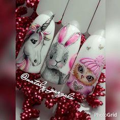 #naildesign #nailart #sweetnailart #lovelynailart #unicornnail #owlnail #bunnynail