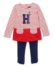 Look at this #zulilyfind! Red & White Stripe Tunic & Leggings - Infant #zulilyfinds