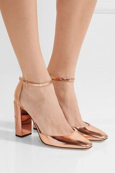 9026479eb5e Heel measures approximately 95mm  4 inches Rose gold mirrored-leather  Buckle-fastening ankle