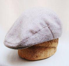Custom Handmade Men's Hat  Wool Herringbone Golf Cap in by Sookie, $68.00