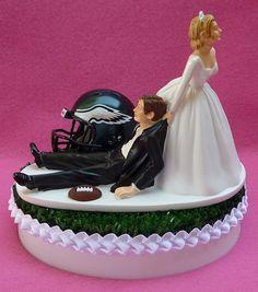 Wedding Cake Topper Philadelphia Eagles Football Themed Sports Turf Topper w/ Garter, Display Box