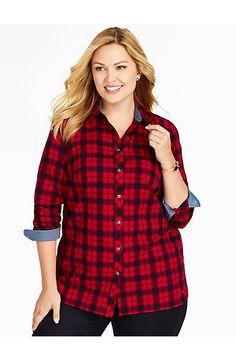 Talbots - Brushed Twill Festive Plaid Shirt | New Arrivals | Woman
