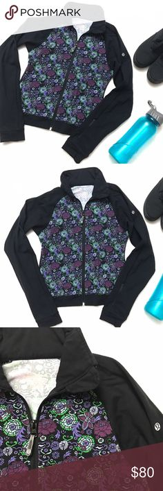 "LULULEMON Green Purple Floral Zip Jacket LULULEMON Green Purple Floral Zip Jacket size 4 - excellent condition, one of the ""vintage"" Lulu prints. Has zipper pocket on wrist. Matching tank in separate listing!! Lilly Pulitzer Tops Sweatshirts & Hoodies"