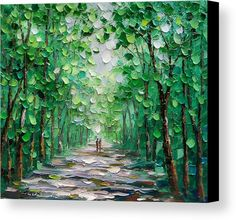Palette Knife Oil Painting Forest Landscape Canvas Print by Enxu Zhou. All canvas prints are professionally printed, assembled, and shipped within 3 - 4 business days and delivered ready-to-hang on your wall. Choose from multiple print sizes, border colors, and canvas materials. #OilPaintingForest