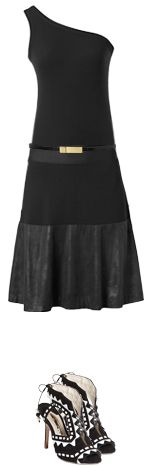 Be the pinnacle of summer-to-fall chic in the #CAbi Fall 2013 One Shoulder Tank, Fleather Skirt, and Skinny Belt.