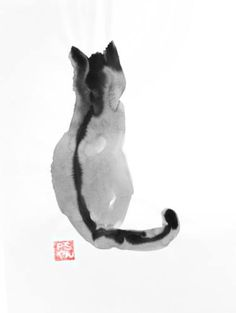 Buy cat back, an Ink Painting on Paper, by pechane sumie from France, For sale, . :D - Katzen / Cat Watercolor Cat, Watercolor Animals, Watercolor Paintings, Painting Abstract, Acrylic Paintings, Japanese Ink Painting, Japanese Art, Chinese Painting, Japanese Watercolor