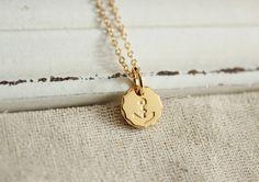 dainy modern  minimalist  24k  gold  plated  brass anchor  necklace anchor jewelry nautical jewelry