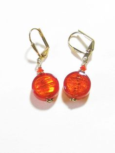 Murano Glass Orange Coin Gold Earrings, Small Dangle Leverback Earrings, Clip On Earrings
