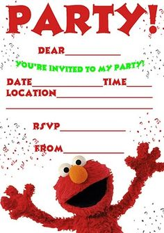 free elmo party invitation | aria party ideas | pinterest | other, Birthday invitations