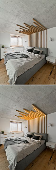 Interior architect Indre Sunklodiene of InArch has designed this decorative wood feature piece above the bed in a loft in Vilnius Lithuania. It not only creates a focal point within the bedroom but is also functional as it includes lighting. Laminate Flooring On Walls, Plank Walls, Bedroom Flooring, Flooring Ideas, Pergo Laminate, Wood Flooring, Wood Paneling, Home Bedroom, Bedroom Decor
