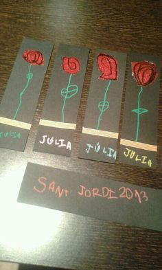 Punt de llibre sant jordi My Bookmarks, Saint George, Mothers Day Crafts, Creative Crafts, Art For Kids, Religion, Arts And Crafts, Scrapbook, Invitations