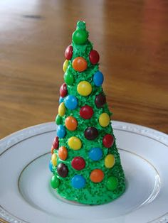 ice cream cone christmas trees -- frosting & colored sugar, m & m's, the possibilities are endless here