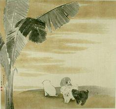 Puppies under Plantain by Maruyama Okyo...