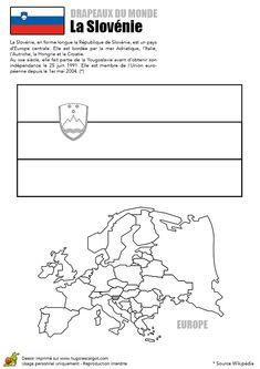 Illustration à colorier du drapeau de La Slovénie Homeschool, Teaching, Activities, Education, Aide, Tour, Flags, Scrapbooking, Illustration
