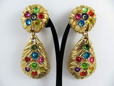 Rare Vintage 80's French Couture Signed JACKY DE G Clip-on Earrings #JackydeG #DropDangle Clip On Earrings, Drop Earrings, Vintage Designs, Dangles, French, Couture, Ebay, Jewelry, Fashion