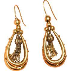 Sensational Fine Antique Etruscan revival Victorian 18 carat yellow gold drop earrings - circa 1870