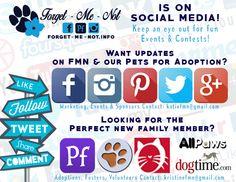 *** SOCIAL MEDIA***  Forgetmenot Inc. is now on multiple Social Media Sites! Give us a follow!  IG: www.instagram.com/forgetmenotpets  Pinterest: www.pinterest.com/forgetmenotpets  Twitter: @FMNPets  Google+: plus.google.com/u/0/b/116408013418874640172/116408013418874640172