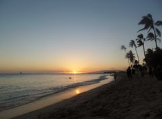Sunset in Waikiki Beach Oahu, Hawaii