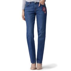 Women's Lee Relaxed Fit Straight Leg Jeans, Dark Blue