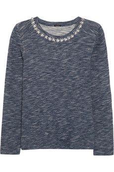 J.Crew Crystal-embellished cotton-terry sweatshirt | NET-A-PORTER