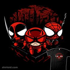 """Team Redpuff Boys"" by PrimePremne. Deadpool, Daredevil, and Spider-Man in the style of The Powerpuff Girls. [Sold at NEATOSHOP]"