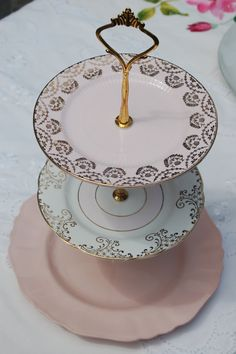 Cake Stand - Vintage Cake Stand - The Pink & Gold Wreath Three Tier Cakestand