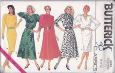 Butterick Sewing Pattern 4364 Misses Size 6-10 Easy Classic Straight Flared Skirt Long Sleeve Dress --  Need a different size or pattern? Check out our store www.MoonwishesSewingandCrafts.com for 8000+ uncut sewing patterns all sizes and styles! Buy 2 or more patterns and get an automatic upgrade to Priority Mail in the US!