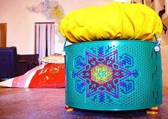 DIY taburete tambor de lavadora reciclaje