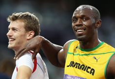 In This Photo: Usain Bolt, Christophe Lemaitre  Usain Bolt of Jamaica puts his arm on the shoulder of Christophe Lemaitre of France after his Men's 200m Semifinals on Day 12 of the London 2012 Olympic Games at Olympic Stadium on August 8, 2012 in London, England.  (August 7, 2012 - Source: Streeter Lecka/Getty Images Europe) - http://www.PaulFDavis.com/success-speaker (info@PaulFDavis.com)