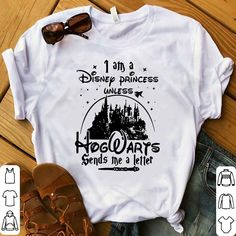 We hope you will own I am a Disney princess unless Hogwarts sends me a letter shirt because the details such as the picture and the symbols on Disney, Hogwarts, Harry Potter show your fashion style. Wear it and make people be attracted! Disney Hogwarts, Disney T-shirts, Cute Disney Outfits, Disney Themed Outfits, Disneyland Outfits, Disney Clothes, Emo Outfits, Scene Outfits, Fandom Outfits