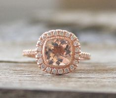Cushion Morganite Engagement Ring in 14K Rose Gold by Studio1040, $1540.00