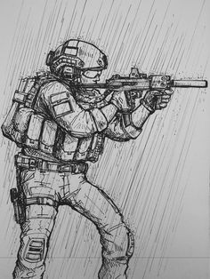 "Képtalálat a következőre: ""military soldier drawing"" Anime Military, Military Guns, Military Art, Navy Military, Military Soldier, Army Drawing, Soldier Drawing, Drawing Rain, Cool Drawings"
