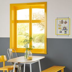 ICYMI: Real Homes ( ): How to paint timber window frames Timber Window Frames, Painted Window Frames, Timber Windows, Yellow Interior, Interior Paint, Interior Design, Modern Interior, Colour Blocking Interior, Color Blocking