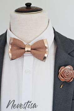 Rose Gold nude leather bow tie for men,boys rose gold wedding bow tie, boutonnere, genuine gold leahther toddler bowtie,blush pink peach - - Bow Tie Wedding, Wedding Men, Gold Wedding, Tuxedo Wedding, Wedding Ideas, Dress Wedding, Wedding Cake, Young Wedding, Burgundy Wedding