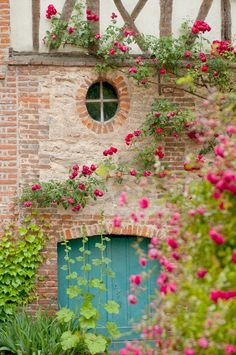 French Country Photography, Blue Door, Romantic Home Decor, Cottage with Roses, Fine Art Travel Photograph